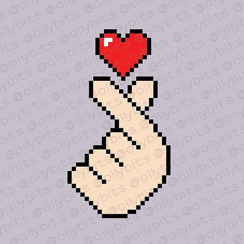 Finger Heart Pixel Art Acrylic Charm