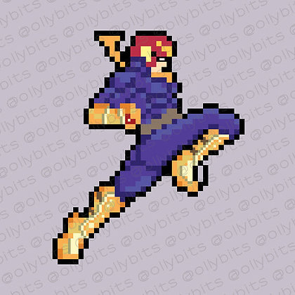 Captain Falcon The Knee (of Justice) Pixel Art Acrylic Charm