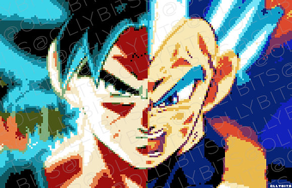 Dragon Ball SSGSS Goku x Vegeta Pixel Art 11x17 Poster