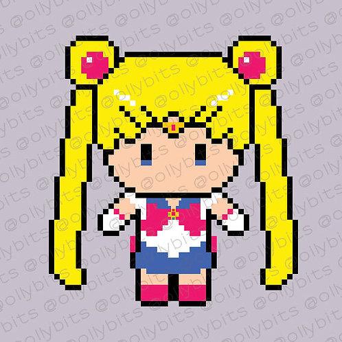 Sailor Moon Pixel Art Acrylic Charm