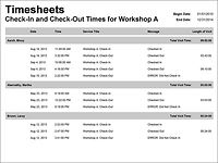 Timesheets table