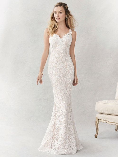 Stunning Ella Rosa Ivory/Almond Wedding gown BE356 Size 10