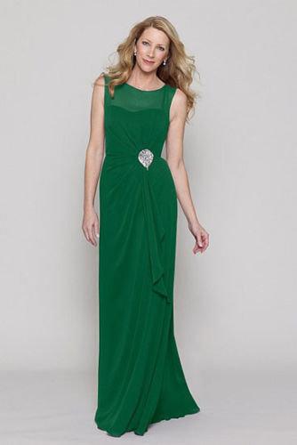 Chiffon dress in Emerald Green by Watters & Watters. UK 16 US 14.