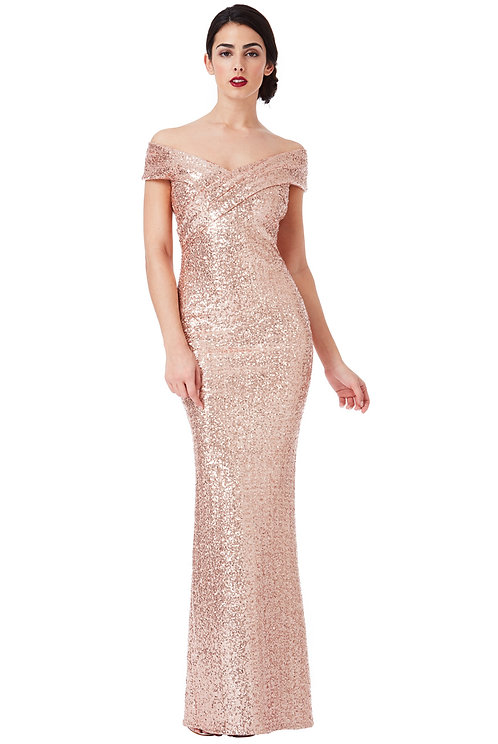 Rose Gold Sequin Prom, Evening dress UK size 12