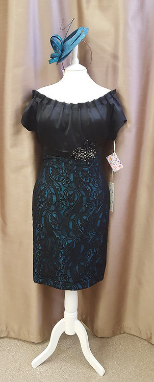 Teal Blue and Black Lace dress by Linea Raffaelli. UK 16 & 18