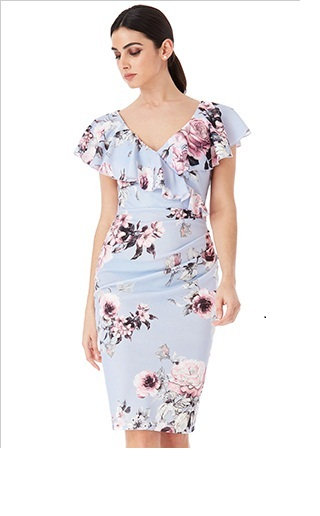 Gorgeous Lilac/Blue Floral Occasion Dress UK size 10