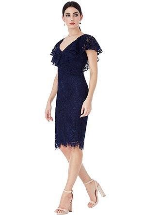 Gorgeous Navy Lace Occasion Dress UK size 12