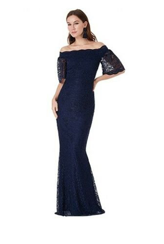 Gorgeous Navy Lace Occasion Dress UK size 8