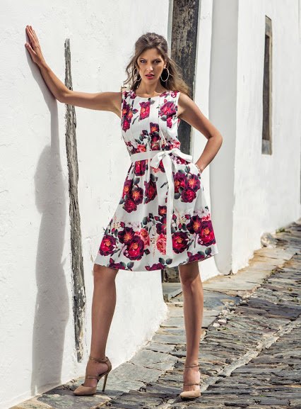 Red Floral dress by Michaela Louisa. UK sizes 10 & 14