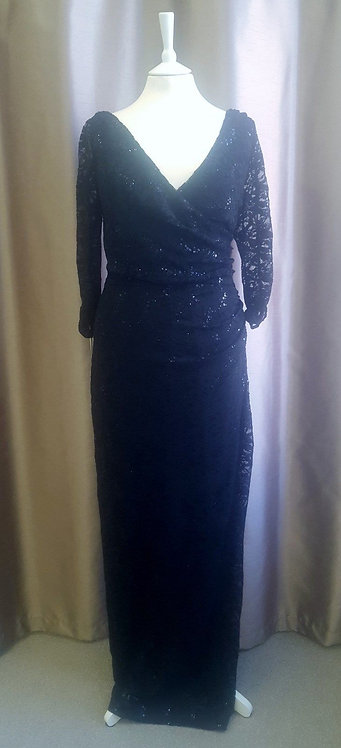 Stunning long Black Sequin Veromia Occasion wear Dress sizes 16 & 20