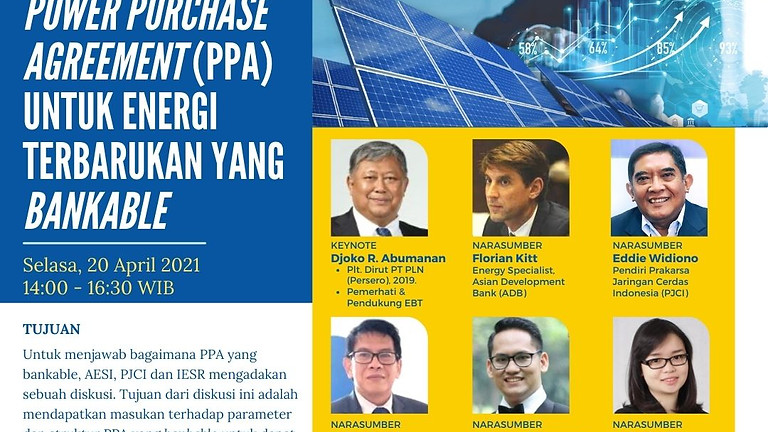 Power Purchase Agreement (PPA) Untuk Energi Terbarukan Yang Bankable