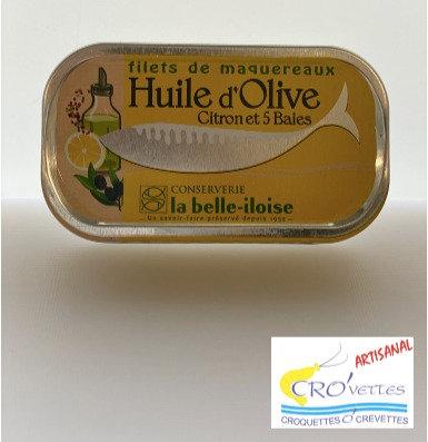 516. Maquereaux - Filets de maquereaux à l'huile d'olive, citron et 5 baies 118g