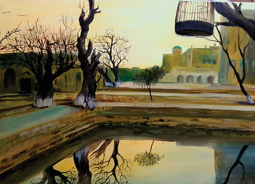 Landscape with empty cage