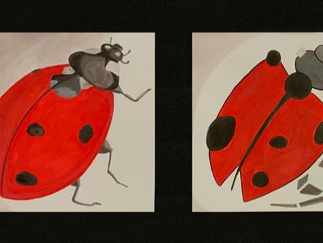 Ladybugs 6x6, Watercolor/Gouache