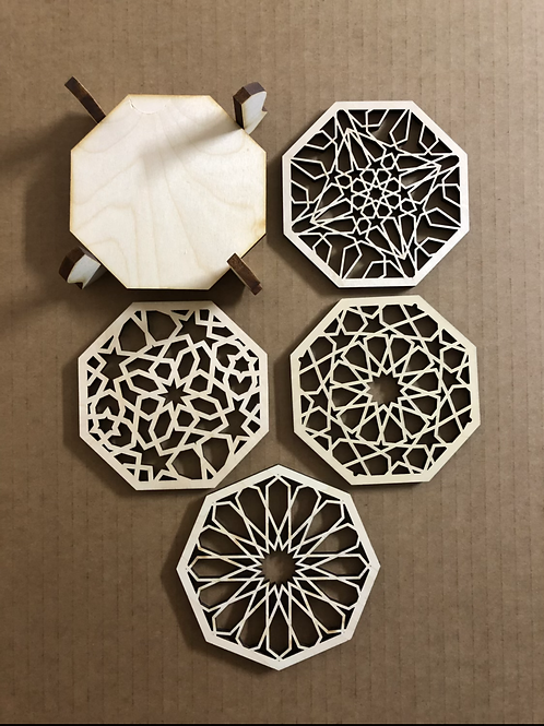 Wooden Coasters with Stand [Set of 4]