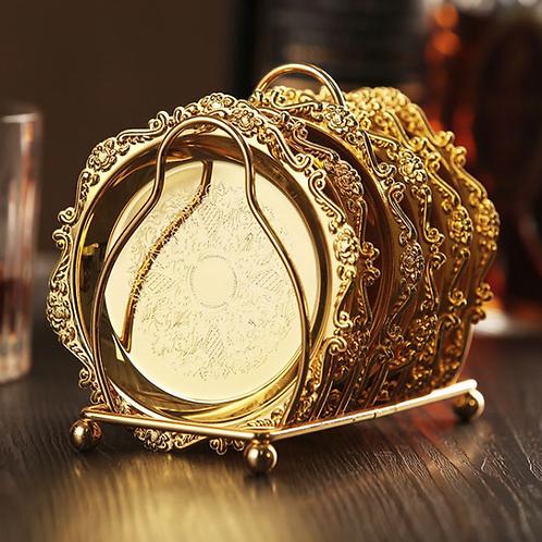 6pc Classical Golden Cocktail Metal Coaster Continental Vintage Zinc Alloy