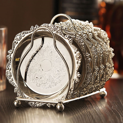 6pc Classical Silver Cocktail Metal Coaster Continental Vintage Zinc All