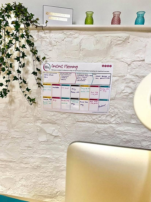 Dry-wipe Social Media Content Wall Planner