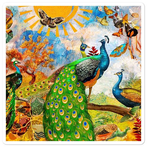 """Stickers """"Peacock Garden"""" by phatpuppyart-studios"""