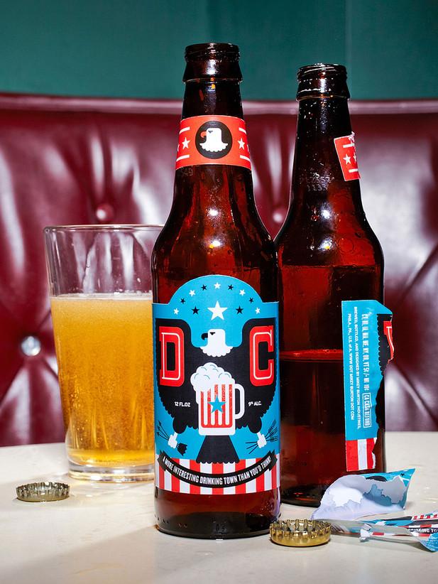 """Beer bottle design for Esquire's """"Best Bars in America"""" feature. AD: Frank Augugliaro, Photo: Zachary Zavislak"""