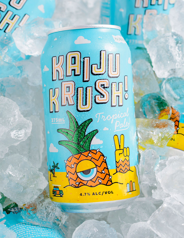 Package design for Kaiju! Krush beer, a tropical pilsner from my buddies at Southeast Brewing.