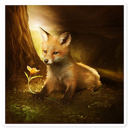 """Stickers """"Little Fox and the flowers"""" by ElenaDudina"""