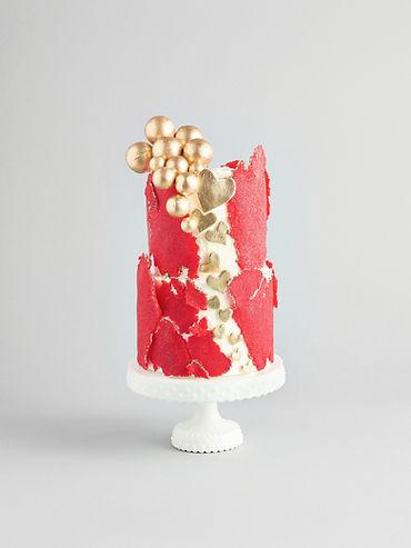 8 Inch Gold Drip Cake