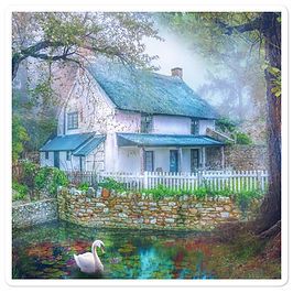 """Stickers """"Country Cottage"""" by phatpuppyart-studios"""