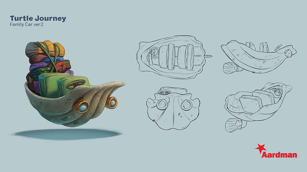 clamshell car/boat sketches