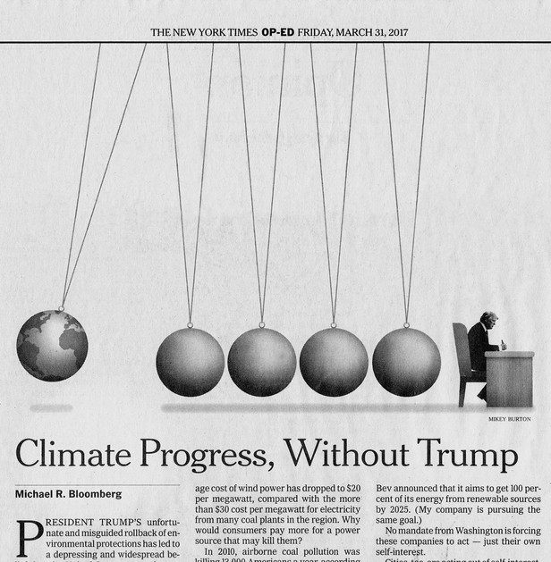 Editorial Illustration for the New York Times on climate progress sans Trump. AD: Jim Datz