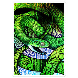 "Stickers ""Green Cat Snake"" by Culpeo-Fox"