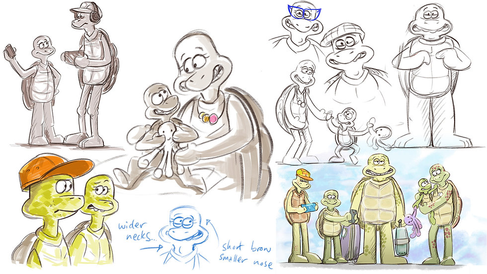Turtle family sketches