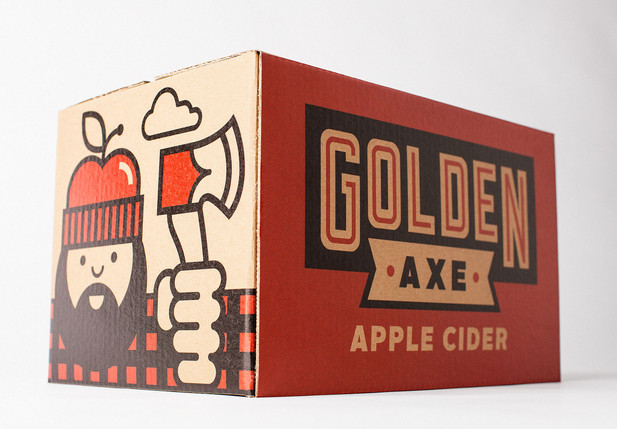 Package design for Golden Axe Apple Cider. Some people think this is a self-portrait, but I deny those accusations.