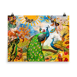 "Poster ""Peacock Garden"" by phatpuppyart-studios"