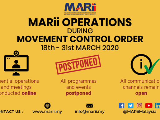 Announcement on MARii operations during movement control order, 18th to 31st March 2020
