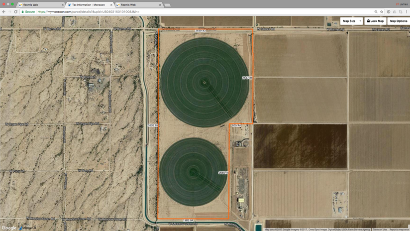 Aerial view of 280 gross acres.
