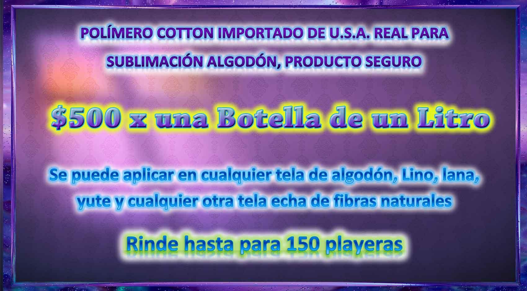 Polímero Sublimación Para Telas De Algodón Importado F.d.a