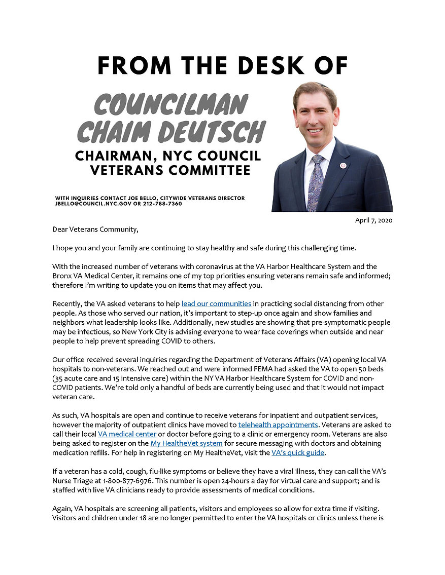 CM Deutsch to NYC Veterans Community 4-7