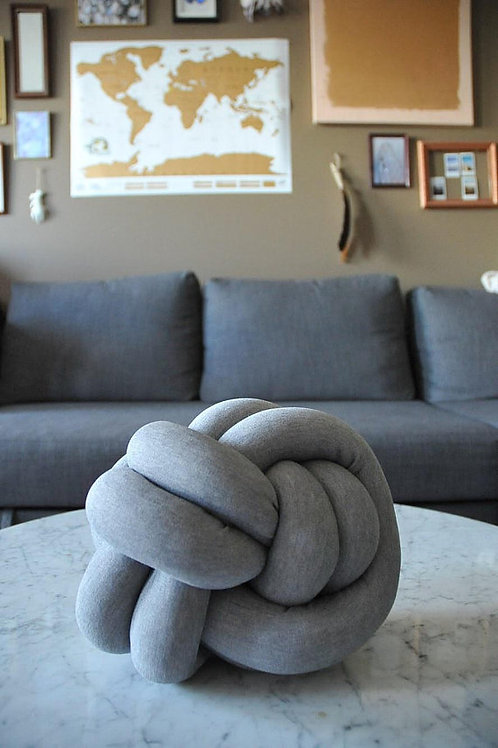 Grey Knot Pillow