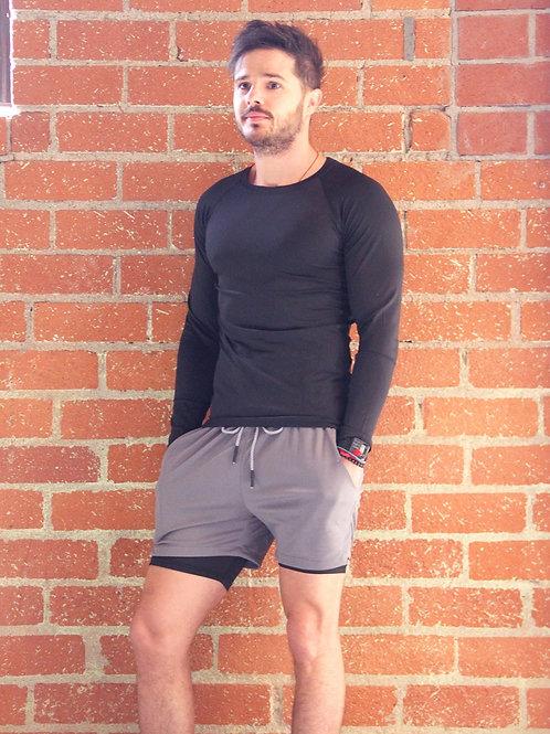 Adam Men's Drawstring Shorts With Border Tights & Pocket - Grey