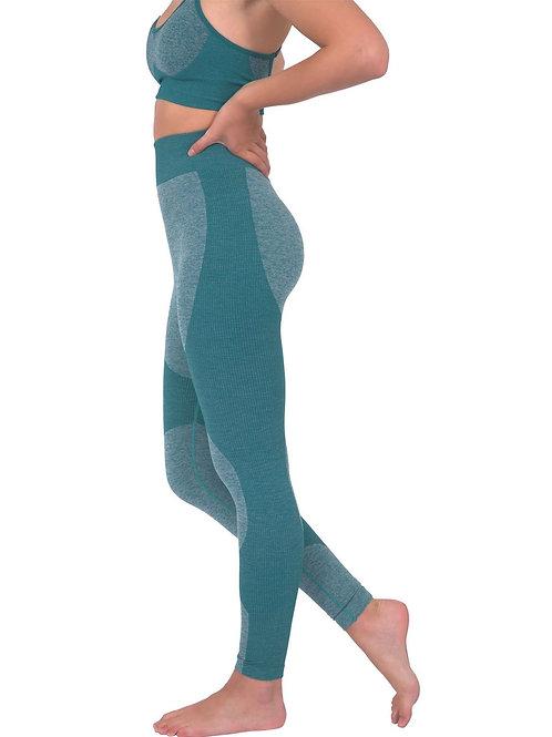 Megara Seamless Legging With Striped Panels - Green