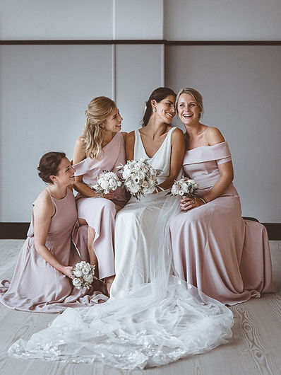 Bridesmaids and flowers