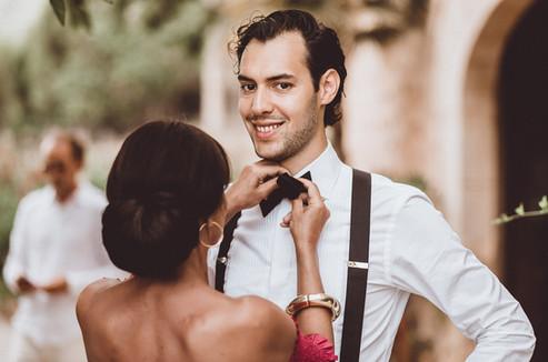preparing the bow tie