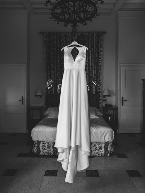 wedding dress hanging in Spain