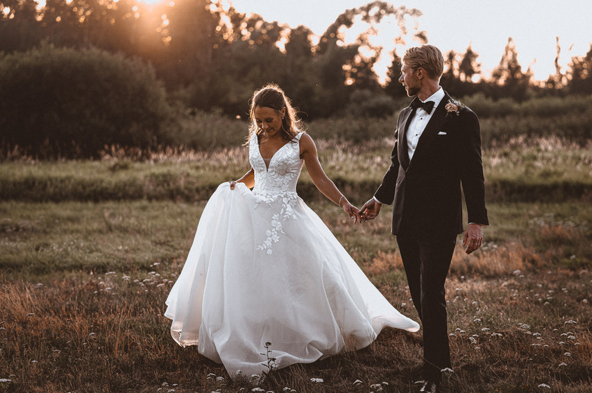 walking bride and groom