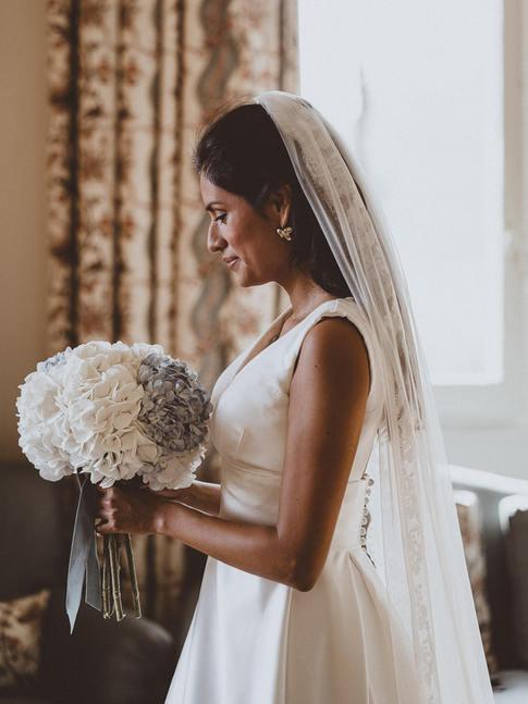 Wedding bride preparing for ceremony