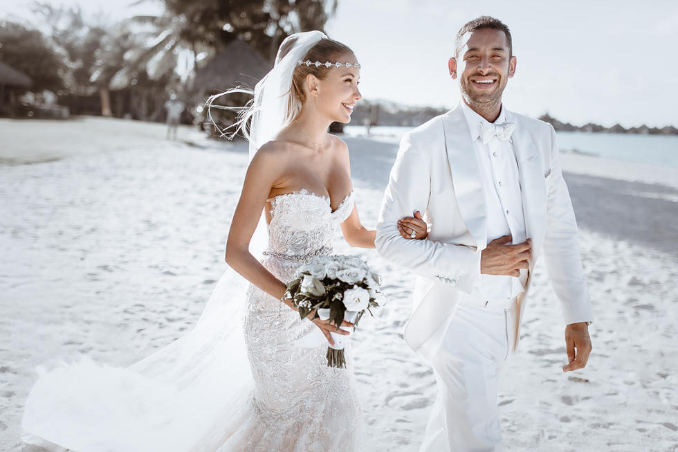 walking down the aisle on the beach