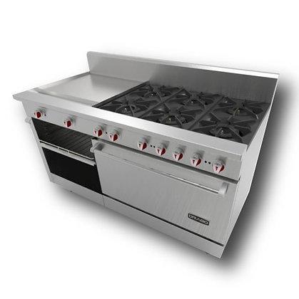 Estufa con 6 quemadores, horno y plancha CG-61PD