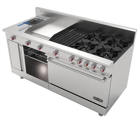 Estufa con 4 quemadores, horno, asador, plancha y gratinador UNIVFG/S-PD