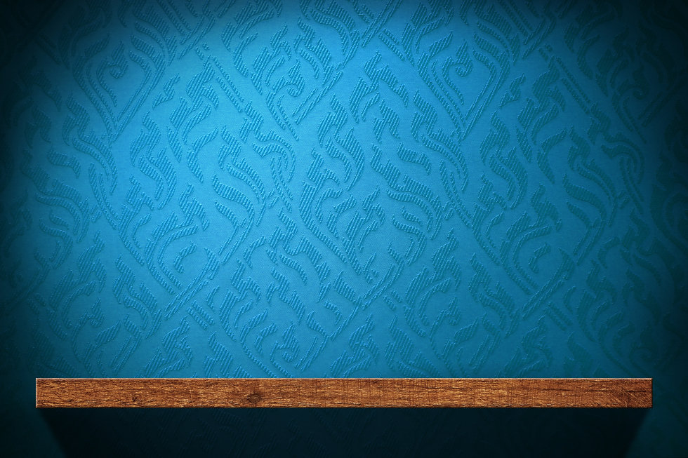 Blank Wood shelf with blue retro wallpap